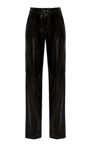 Pleated Belted Faux-Leather Pants