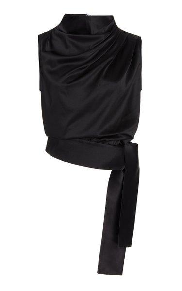 Tie-Detailed Draped Silk Top