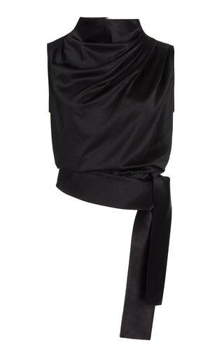 Draped Tie-Detail Silk Top
