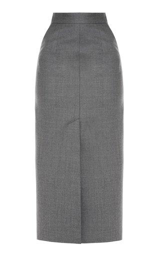 Front Slit Virgin Wool Skirt