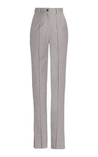 Side-Slit Skinny Wool Trousers