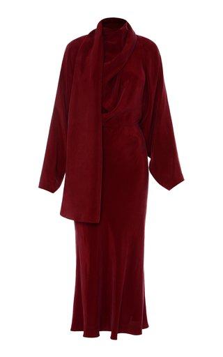Cutout Draped Cupro Midi Dress