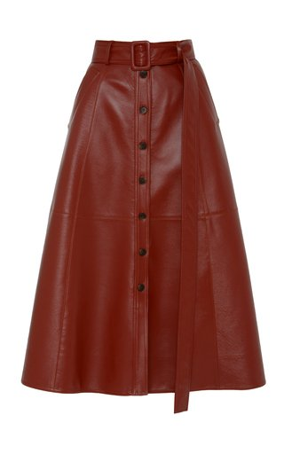 Belted Faux-Leather Skirt