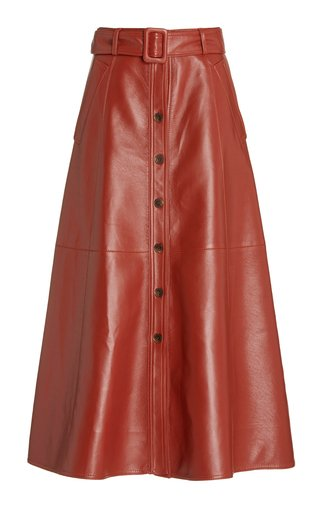 Belted Faux Leather Midi Skirt