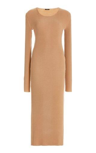Ribbed-Knit Wool-Blend Midi Dress
