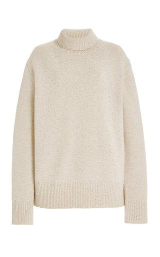 Melange-Knit Wool Turtleneck Sweater