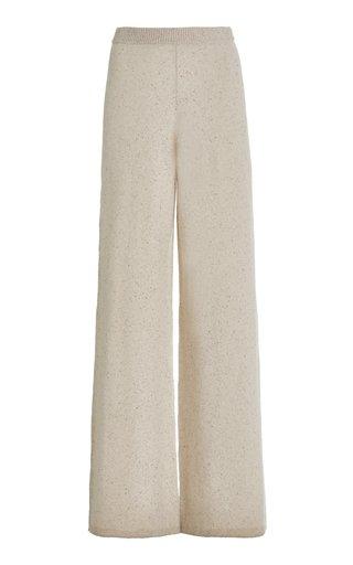 Melange-Knit Wool-Blend Flared Lounge Pants