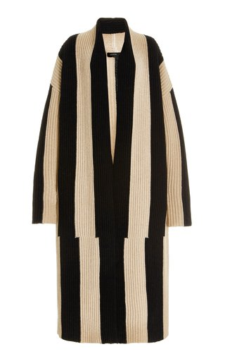 Oversized Striped Ribbed-Knit Wool Robe Coat
