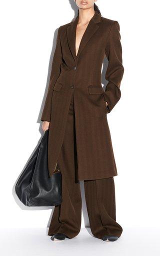 Cale Herringbone Virgin-Wool Coat