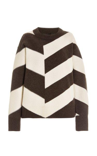Chevron Knit Silk Sweater
