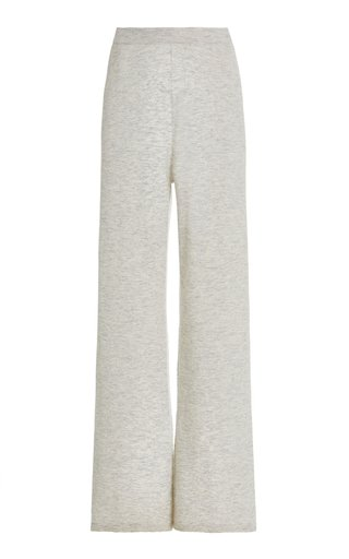 Melange-Knit Straight-Leg Lounge Pants
