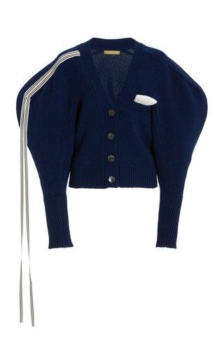 Gunner Wool-Cashmere Puff Sleeve Cardigan