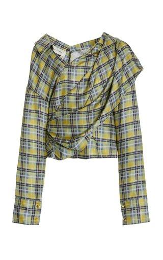 Halsey Stripe Draped Silk Top