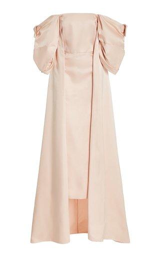 Loretta Silk Cape Bustier Midi Dress