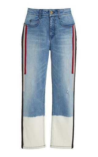 Creed Bleached Grosgrain-Trimmed Boyfriend Jeans