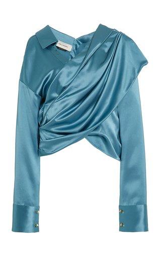 Halsey Solid Draped Silk Top