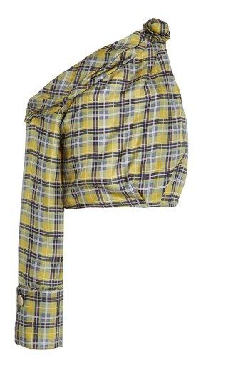 Savannah Checkered Asymmetric-Sleeve Top