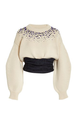 Cliff Embellished Bustier Sweater