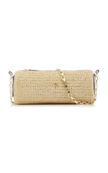 Cylinder Leather-Trimmed Crocheted Shoulder Bag