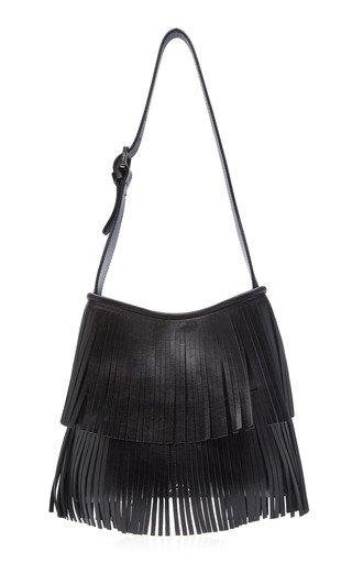 Fringed Leather Hobo Bag