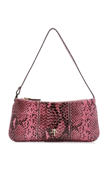 Pita Snake-Printed Leather Shoulder Bag