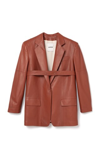 Honey Belted Leather Blazer