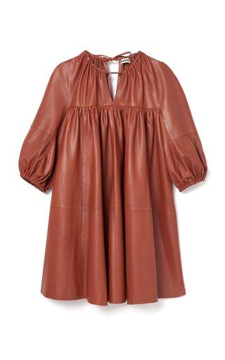 Harini Babydoll Leather Mini Dress