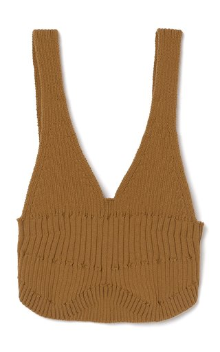 Ceylon Ribbed Cotton-Blend Knit Bra Top