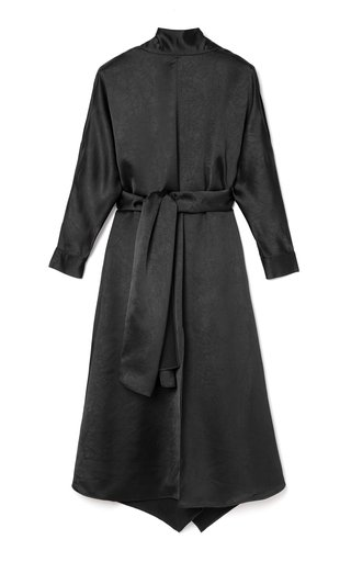 Amila Belted Draped Satin Dress