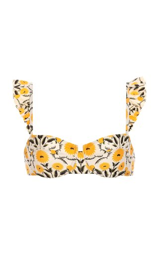 Kiwi Ruffled Floral Bikini Top