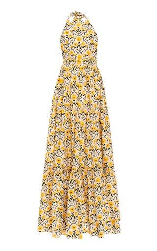 Naranja Floral Cotton Poplin Maxi Halter Dress