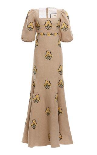 Clavel Printed Linen Maxi Dress