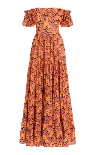 Azucar Printed Ruffled Cotton Poplin Maxi Dress