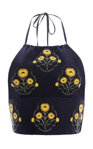 Castaña Embroidered Linen Cropped Halter Top