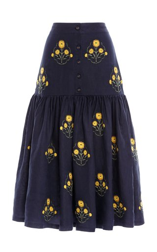 Ciruela Embroidered Linen Midi Skirt