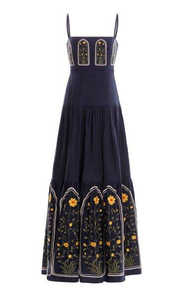 Lima Embroidered Linen Maxi Dress