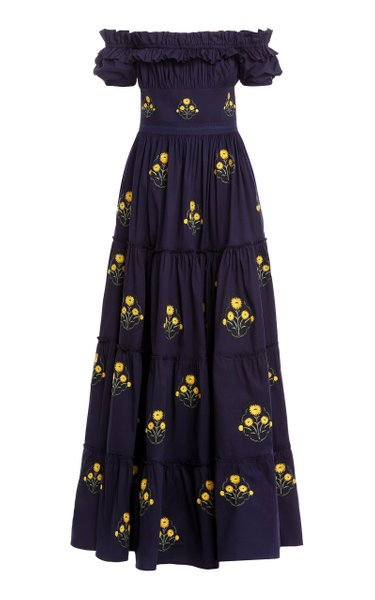 Azucar Off-The-Shoulder Embroidered Cotton Maxi Dress