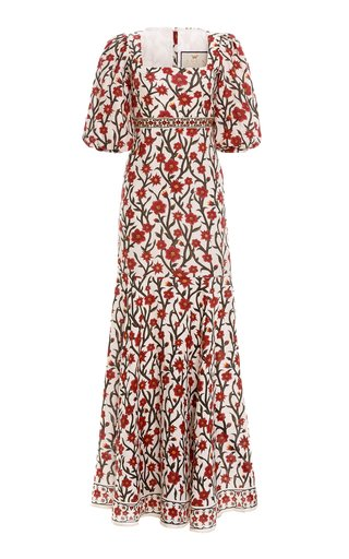 Clavel Fitted Printed Linen Maxi Dress