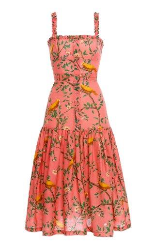 Níspero Printed Linen Midi Dress