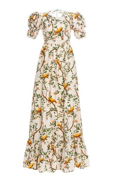 Amapola Open-Back Printed Cotton Poplin Maxi Dress