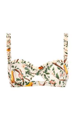 Agraz Printed Ruffled Bikini Top