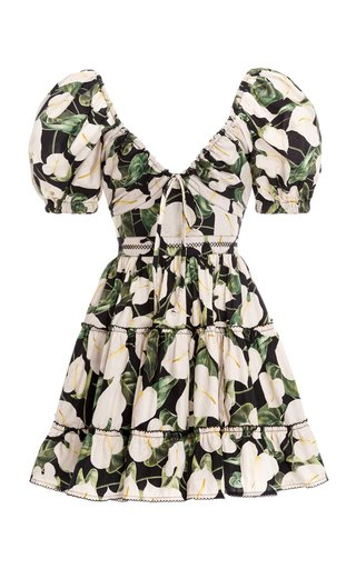 Manzanilla Tiered Floral Cotton Poplin Mini Dress