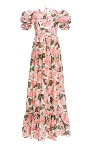 Amapola Open Back Printed Cotton Poplin Maxi Dress