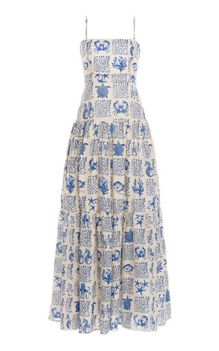 Lima Tiered Printed Linen Maxi Dress