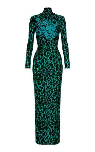 Mason Printed Jersey Turtleneck Maxi Dress