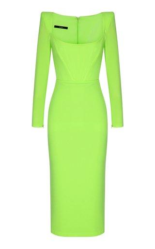 Leigh Satin-Crepe Corset Midi Dress