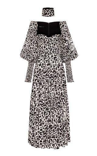 Addilyn Printed Silk-Satin Midi Dress Ddilyn Silk Satin Sweetheart Ballon Sleeve Tier Dress W/ Cuff