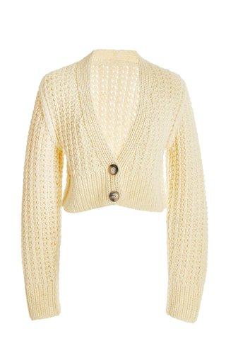 Sabina Cropped Wool-Knit Cardigan
