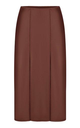 Zhenia Double-Slit Satin Skirt