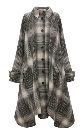 Oversized Plaid Wool Flannel Trench Coat